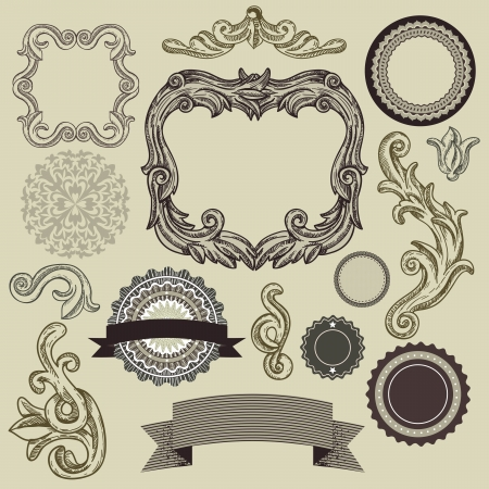 Collection of vintage design elements - vector frames, labels, ribbons, badges Vector