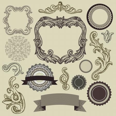 engraved: Collection of vintage design elements - vector frames, labels, ribbons, badges