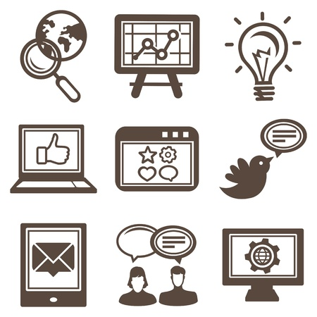 browser business: Vector internet and technology icons - set of  pictograms