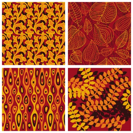 Set of vector seamless patterns with floral elements and autumn leaves Stock Vector - 15834640