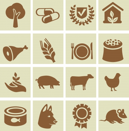 Set of agricultural icons - design elements with signs of animals and plant