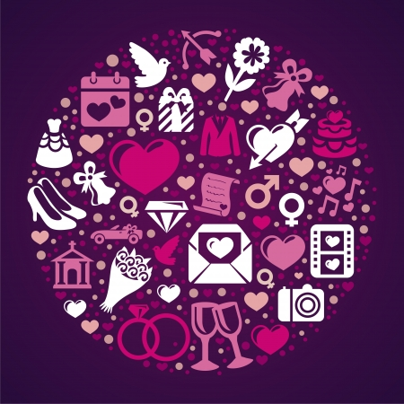 pink dress: Vector round concept with wedding icons - vintage Illustration