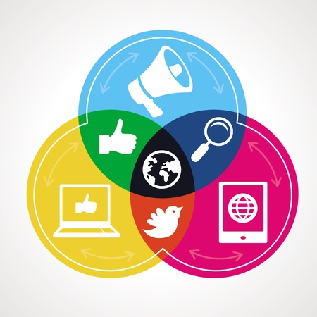 m�dia: Vector conceito social media - ilustra��o abstrata com c�rculos e �cones