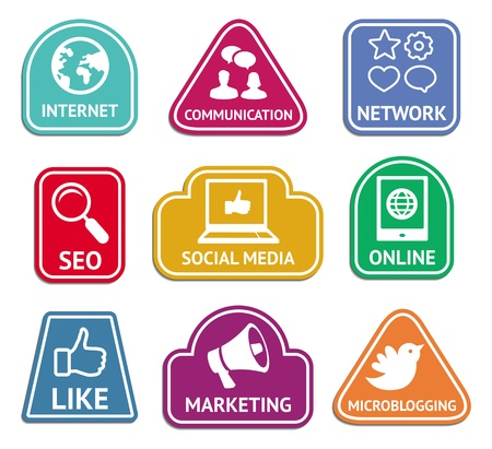 mobile advertising: Vector stickers with social media and internet  marketing icons - web concept