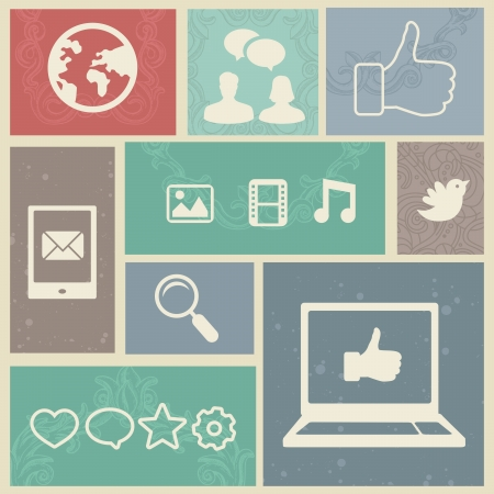 medios de comunicacion: Set con etiquetas de medios sociales vendimia - ilustraci�n vectorial Vectores
