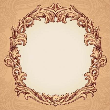 circulaire: Vector frame ronde dans le style vintage - illustration vectorielle