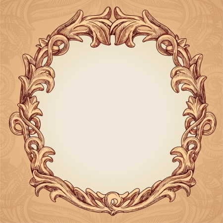 cartouche: Vector round frame in vintage style - vector illustration
