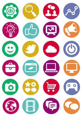 microblogging: Vector internet and technology icons - set of bright pictograms