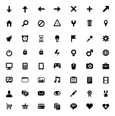 Set of 56 vector icons for software, application or websites - social media and technology Illustration