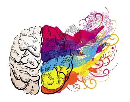ベクトルの創造性概念 - 脳の図  イラスト・ベクター素材
