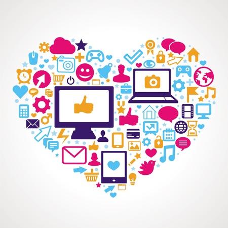 Icônes d'applications et de la technologie en forme de coeur - vecteur social media concept de