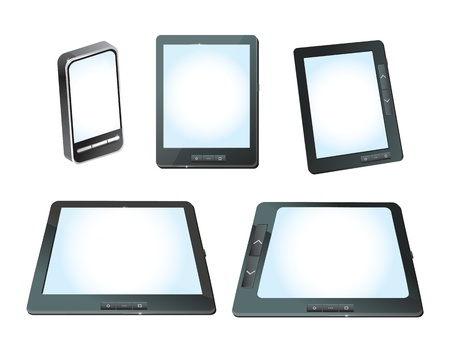 touchphone: set of vector tablet computers ans mobile phones with white screens