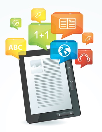 ebook reader: e-learning concept - electronic book Illustration