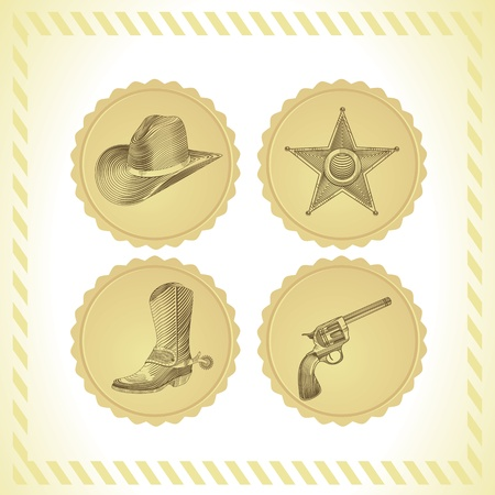 western theme: cowboy icon set - in engraving style