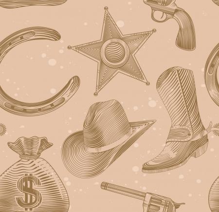 nahtlose Cowboy-Muster in Gravur-Stil