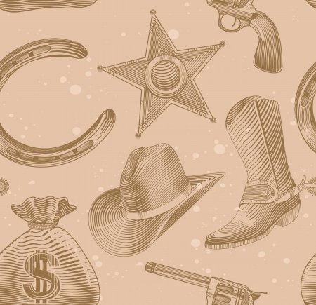 seamless cowboy pattern in engraving style Illustration