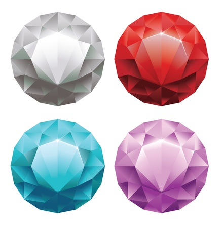 edelstenen: set van ronde diamanten in 4 kleuren Stock Illustratie
