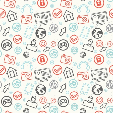 game pad: social media and internet seamless pattern