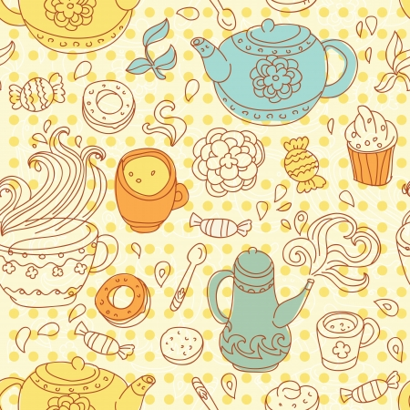 seamless tea pattern Stock Vector - 15870136