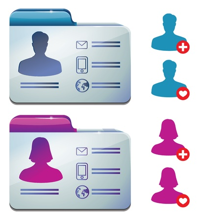 female and male profile for social media - vector illustration Vector