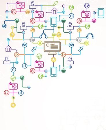 earbud: resumen de antecedentes con iconos de medios sociales - ilustraci�n vectorial con copia espacio para el texto