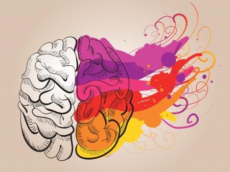 concepto - la creatividad y el cerebro Ilustración de vector
