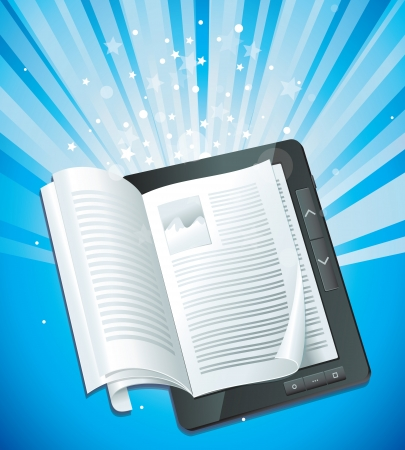 file share: electronic book concept Illustration