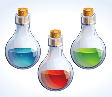 poison: Vector set of three bottles with poison - in different colors