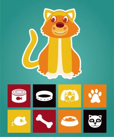 Funny cartoon cat and  icons - vector illustration Vector