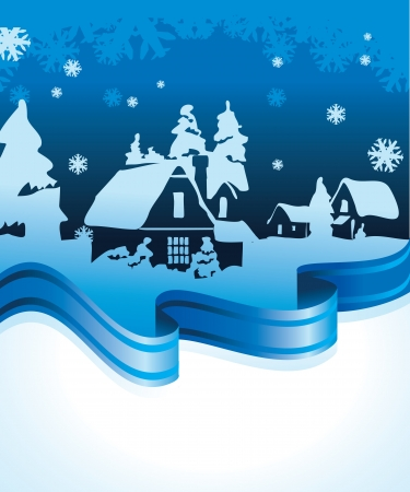 christmas background - postcard with winter landscape Vector