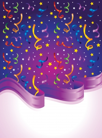 carnival background: bright background with confetti and ribbon Illustration