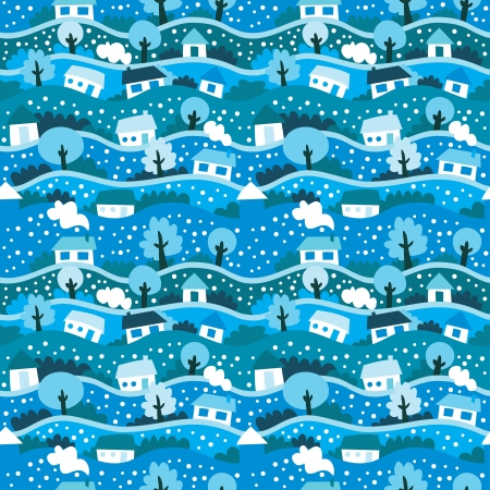 vector seamless pattern with winter village Vector
