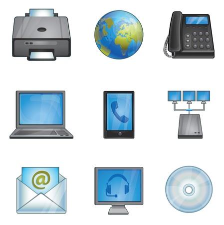 programm: Icone di ufficio - telefoni, stampanti, connessioni di rete, Vettoriali