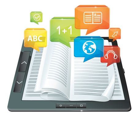 e learn: e-learning concept - electronic book Illustration