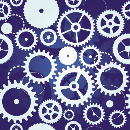 clockwork: blue seamless pattern with cogs and gears - vector illustration