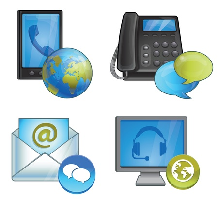 chat online: glossy icon - connection and support - phones and messages