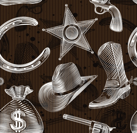 silver horseshoe: seamless cowboy pattern in engraving style Illustration