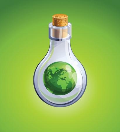 fiole: bouteille en verre avec un globe terrestre vert � l'int�rieur Illustration