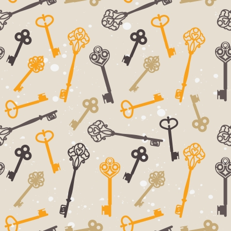 seamless pattern with retro keys - vector illustration Stock Vector - 15870177