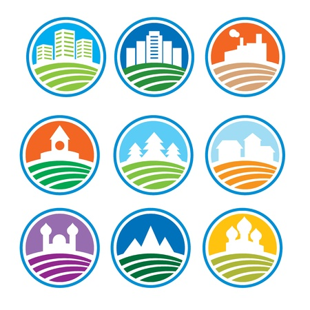 houses: abstract logo with landscapes - vector illustration