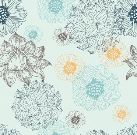 antique wallpaper: seamless pattern with flowers