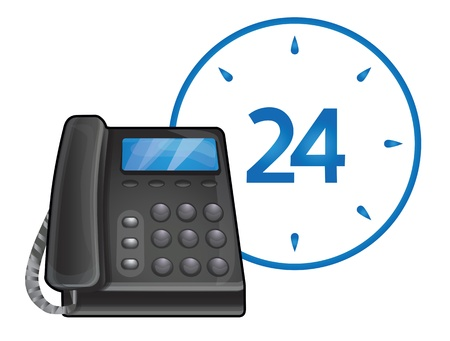 24: vector black phone - 24 hour call center support Illustration