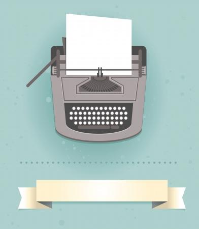 typewriter: máquina de escribir en estilo retro - Tarjeta de vector