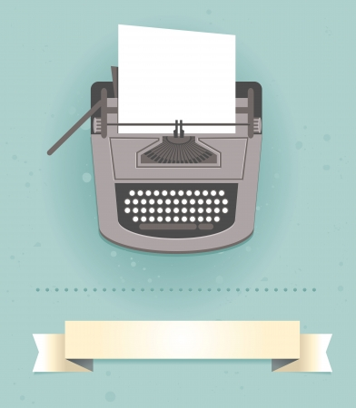 type writer: typewriter in retro style - vector card