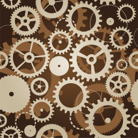 vintage clock: seamless pattern with cogs and gears - vector illustration Illustration