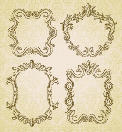 Set with 4 vintage frames with copy space for text Stock Vector - 15869933