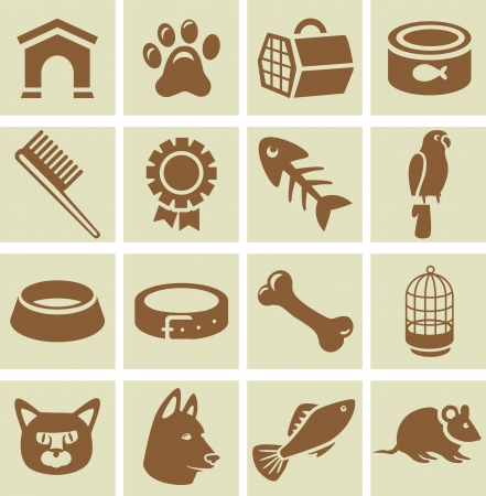 house mouse: Vector design elements for veterinary  - collection of icons with dog and cat