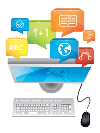e-learning concept computer and keyboard Stock Vector - 15869937