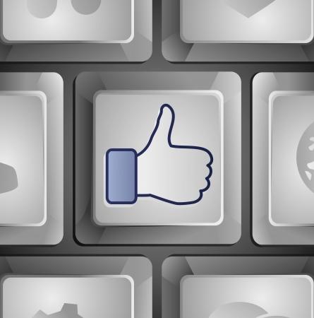face book: Vector como bot�n - social concepto de medios Vectores