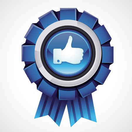 like icon: Vector like sign on glossy award icon - social media sign for follower